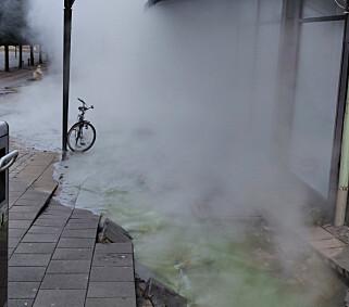 DAMP: Vannet skal ha holdt en temperatur på over 100 grader, og det oppsto mye damp da vannet fosset ut. Foto: Patrik Dahlgren