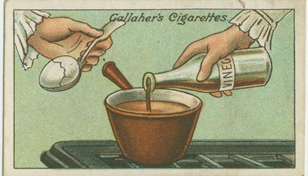 KJERRINGRÅD: Kortet som presenterer eggtipset. Foto: Gallaher's Cigarettes.