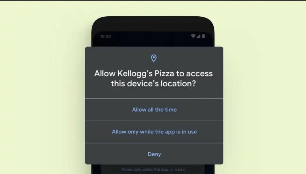 Blant nyhetene er nå at du kan la en app få vite posisjonen din kun når den er i bruk. Foto: Google