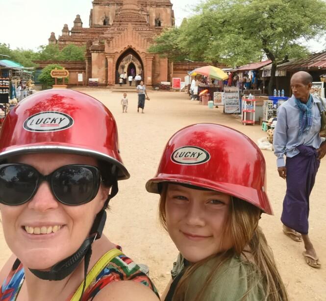 SIGHTSEEING I MYANMAR: For øyeblikket utforsker duoen Sørøst-Asia, snart venter Australia og kanskje Fiji, India eller Bangladesh. FOTO: Privat