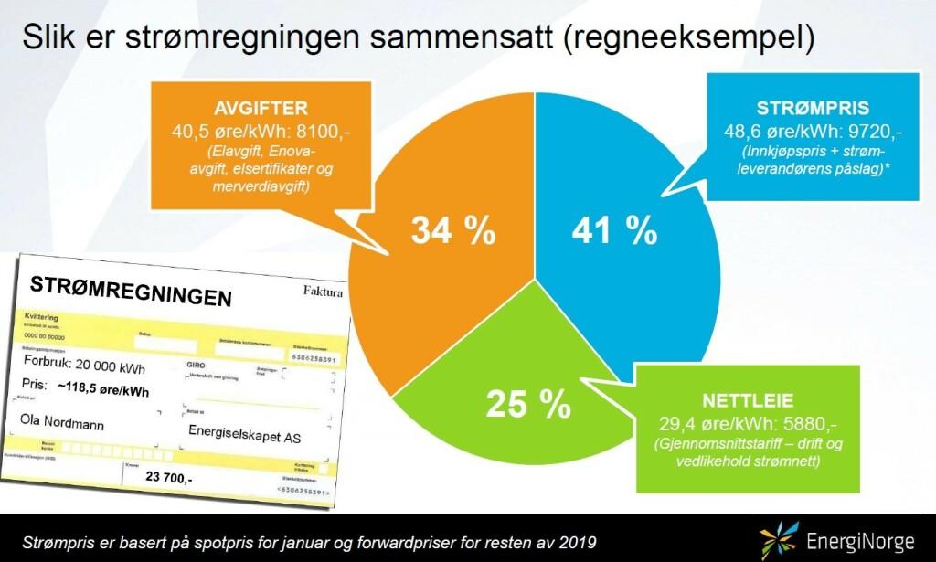 STRØMREGNING: Bildet viser sammensetningen av en vanlig strømregning for norske forbrukere. Foto: Energi Norge.