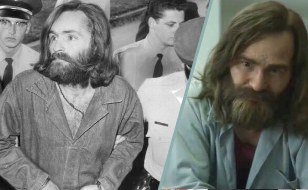 SKREMMENDE LIKE: Sektleder Charles Manson spilles av skuespiller Damon Herriman. Likheten er slående - og skremmende. FOTO: NTB Scanpix/Netflix