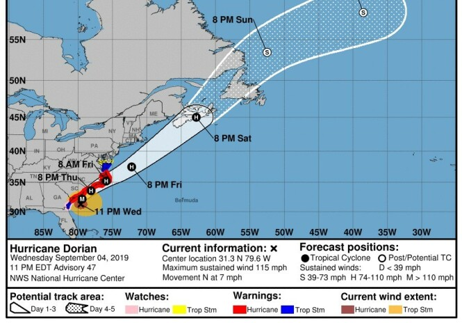 FORBEREDER SEG: Slik det ser ut nå er det North og South Carolina, samt Georgia, som forbereder seg på Dorian. Florida slipper med skrekken. Foto: National Hurricane Center