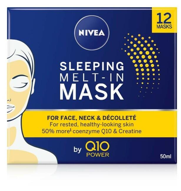 Maske   NIVEA   https://www.nivea.no/produkter/nivea-q10-power-sleeping-melt-in-mask-4005900591043006863.html?utm_source=kk&utm_medium=native&utm_campaign=NO_C204_NIV_Face_Q10Care