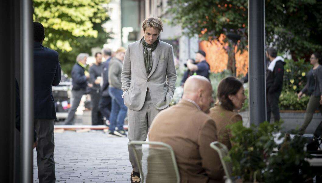 <strong>ROBERT PATTINSON:</strong> Hollywood-stjernen fotografert på filminnspilling i Oslo sentrum torsdag. Foto: Lars Eivind Bones/ Dagbladet