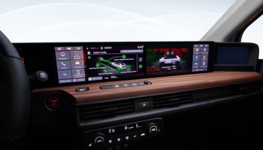 <strong>SKJERMFULLT:</strong> Slik vil dashbordet på nye Honda e se ut. Foto: Honda