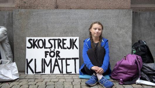 <strong>STARTEN:</strong> Alle bevegelser har en begynnelse. Barn og unges verdensomspennende klimastreiker startet med Greta Thunberg utenfor Riksdagen i Stockholm. (Foto: NTB/Scanpix)