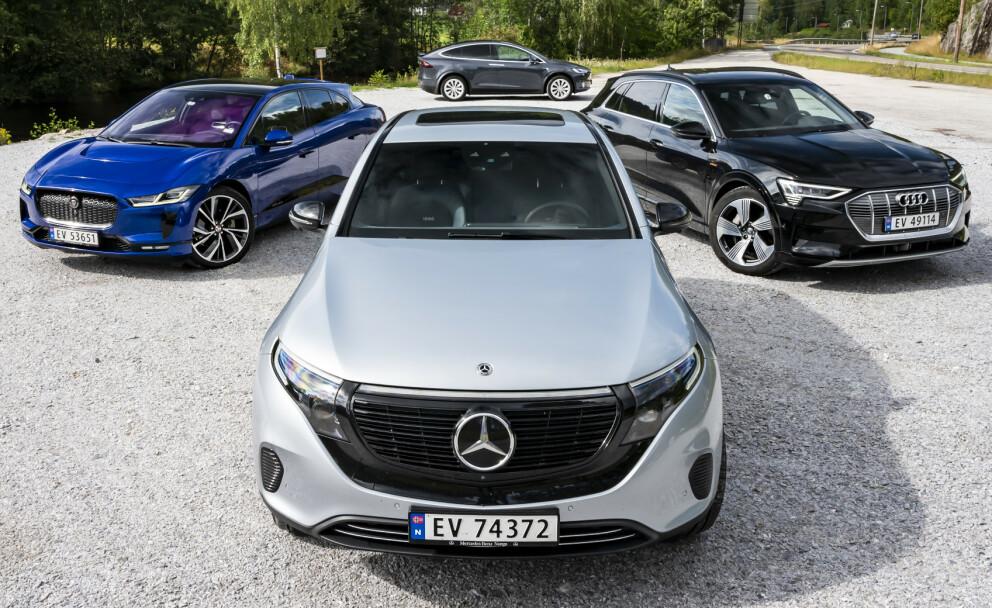 Fire kjemper i kamp: De fire store SUV-modellene - hvilken går billigst, lengst, og lader raskest? Foto: Fred Magne Skillebæk