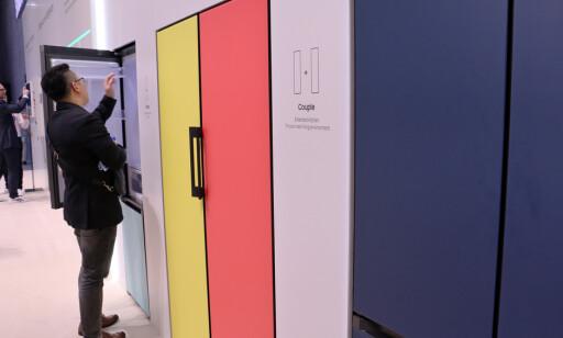 Noen av Samsungs fargevalg på deres Bespokes-kjøleskap. FOto: Berit B. Njarga