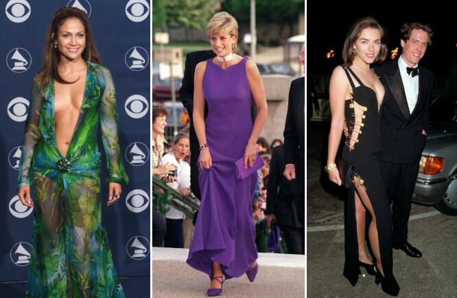 MINNEVERDIG: Jennifer Lopez, «prinsesse» Diana og Liz Hurley i Versace. Sistnevntes antrekk stjal showet da hun ankom «Fire bryllup og en gravferd»-premieren med sin daværende kjæreste Hugh Grant. FOTO: Scanpix