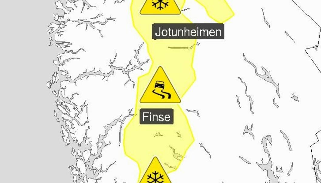<strong>IKKE TIL Å MISFORSTÅ:</strong> Meteorologene forbereder bilfolket på at sommeren er slutt i fjellhøydene i Sør-Norge.