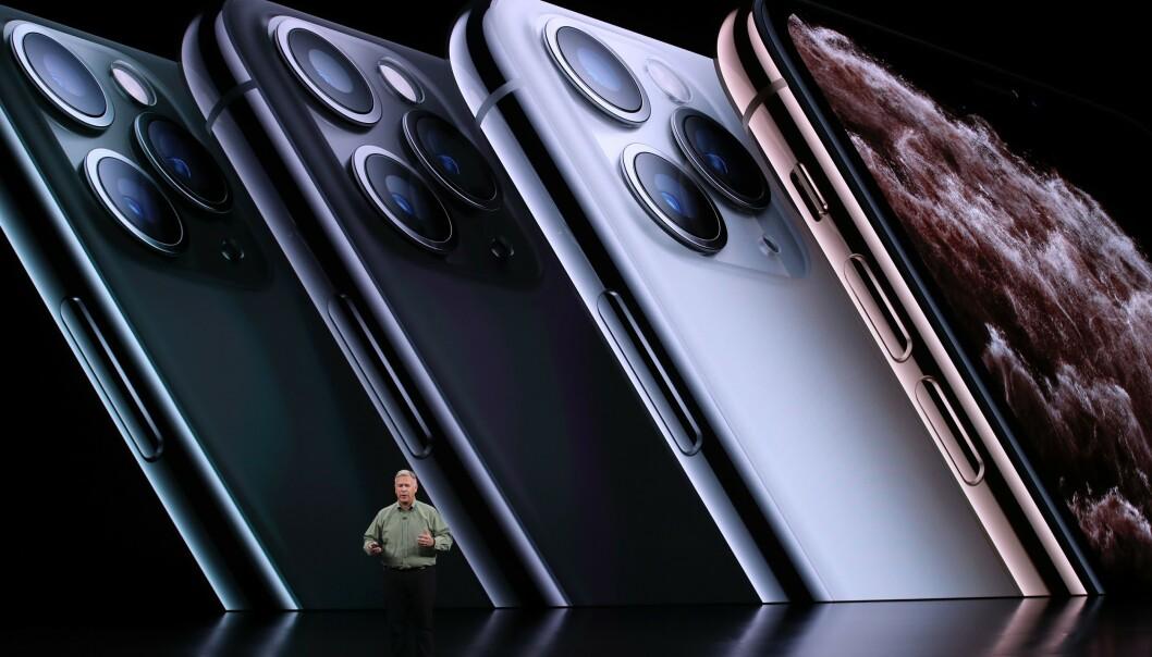 <strong>FIRE FARGER:</strong> Her er fargevalgene du har på iPhone 11 Pro og 11 Pro Max. Foto: Justin Sullivan/AFP Foto/NTB Scanpix