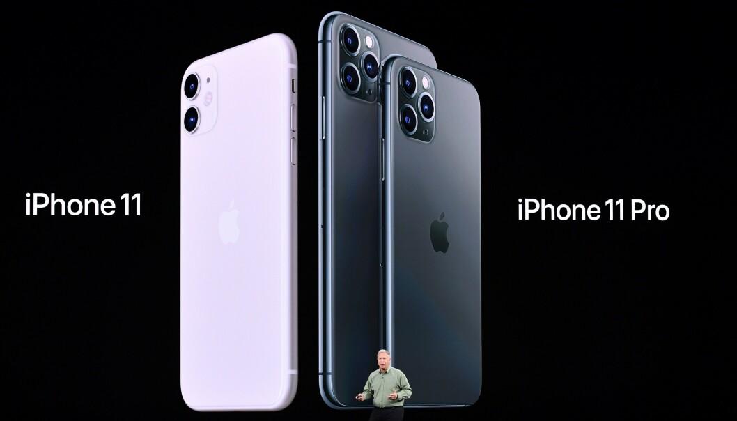 <strong>TRE STØRRELSER:</strong> Du har tre størrelser å velge mellom, 6,1 tommer på iPhone 11 og henholdsvis 5,8 eller 6,5 tommer på iPhone 11 Pro (og 11 Pro Max). Foto: Josh Edelson/AFP/NTB Scanpix