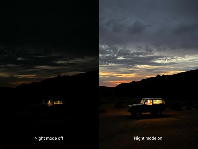 <strong>NATTMODUS:</strong> Slik ser iPhone 11-bilder ut med og uten nattmodus, ifølge Apple.