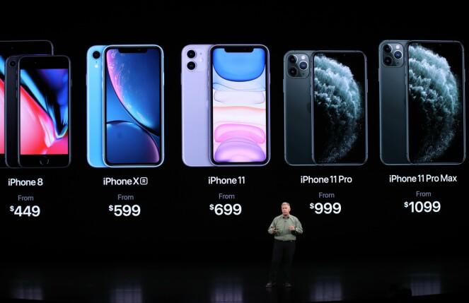 <strong>UTVALGET:</strong> Apple beholder også iPhone 8 i sortimentet sammen med iPhone Xr og de nye modellene. Foto: Justin Sullivan/Getty Images/AFP/NTB Scanpix