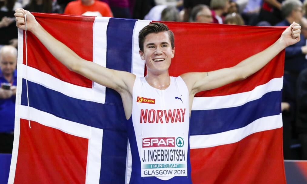 <strong>STJERNE:</strong> Jakob Ingebrigtsen (18) er blant Norges største medaljehåp under VM i friidrett i månedsskiftet september/oktober. Foto: NTB Scanpix