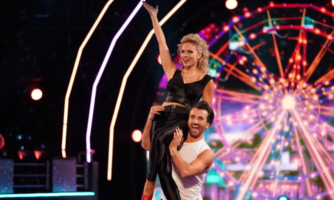 <strong>LEVERTE:</strong> Emilie og Santino fikk 36 poeng lørdag. Foto: Espen Solli / TV 2