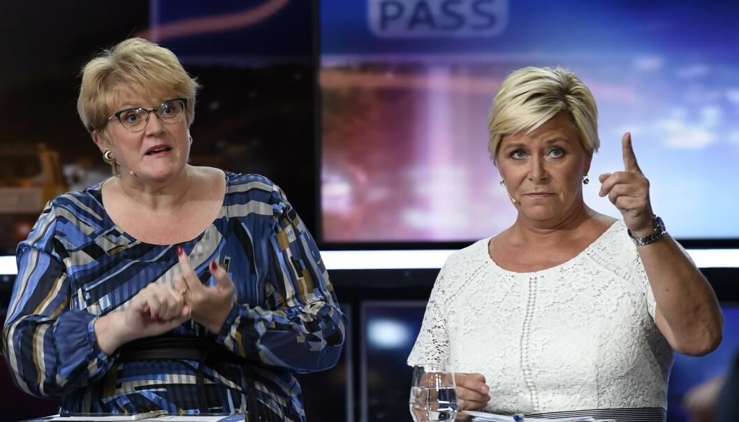 <strong>KLNSJ:</strong> Venstre-leder Trine Skei Grande og Frp-leder Siv Jensen. Foto: Marit Hommedal / NTB Scanpix