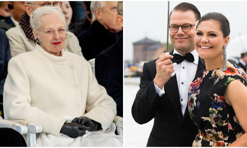 FRAVÆRENDE: Dronning Margrethe skal ikke møte kronprinsesse Victoria og prins Daniel når de denne uken besøker Danmark. Foto: NTB Scanpix