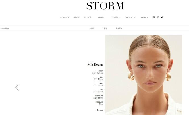 MODELL: Mia Regan er i staben til det britiske modellbyrået Storm Management. FOTO: Faksimile Storm