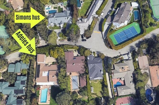 NABOER: Adele kjøpte nabohuset til den tidligere ektemannen. Foto: Google Earth