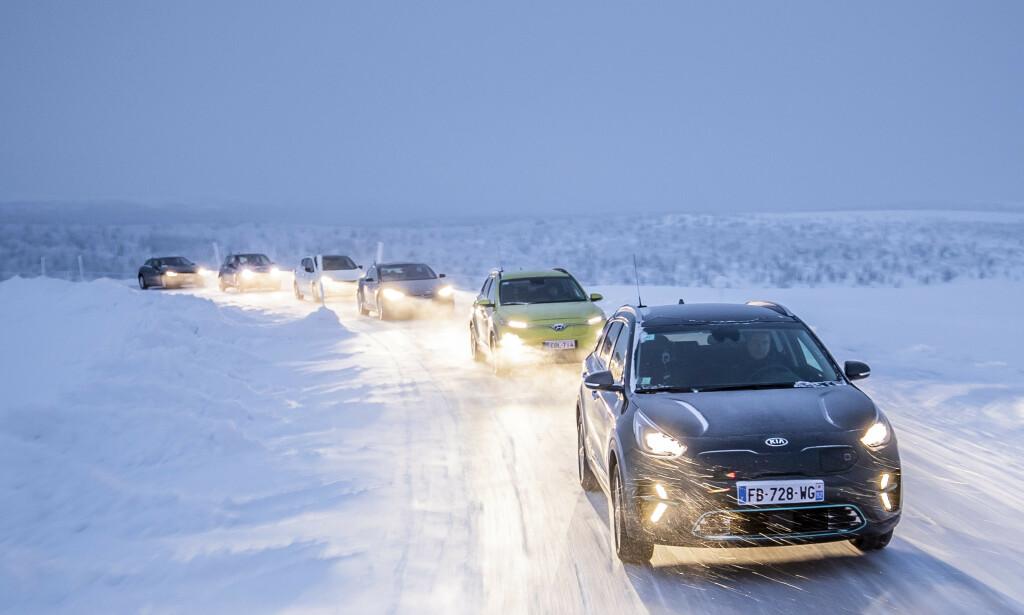 UTFORDRENDE: En norsk vinter kutter rekkevidden på elektrsike biler dramatisk. Dekk som ruller lett gir deg ekstra kilometer. Foto: Markus Pentikainen