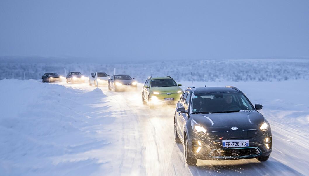 <strong>UTFORDRENDE:</strong> En norsk vinter kutter rekkevidden på elektrsike biler dramatisk. Dekk som ruller lett gir deg ekstra kilometer. Foto: Markus Pentikainen