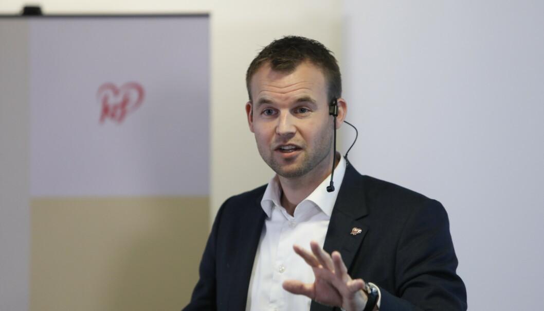 Partileder Kjell Ingolf Ropstad taler til KrFs landsstyre på Økern i Oslo fredag. Foto: Ole Berg-Rusten / NTB scanpix