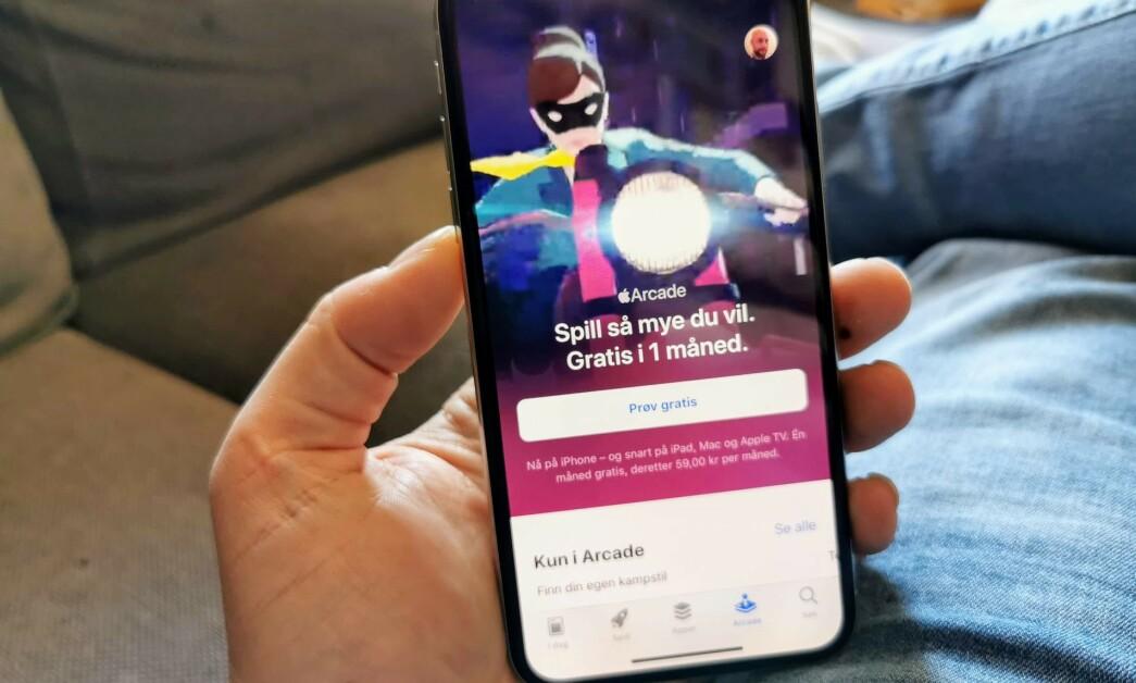 <strong>PRØV GRATIS:</strong> Apple Arcade er lansert, og du kan prøve tjenesten i en måned uten å betale for deg. Foto: Pål Joakim Pollen