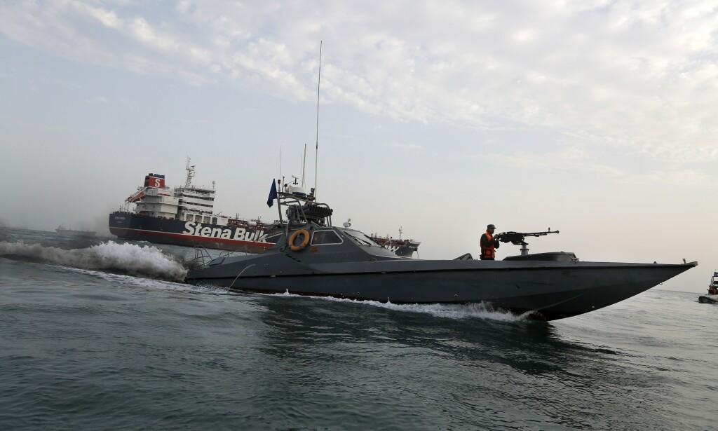 Den iranske Revolusjonsgarden tok 21. juli det svenske tankskipet Stena Impero i arrest, angivelig fordi det hadde kollidert med et fiskefartøy uten å stanse. Foto: Mizan News Agency, AP / NTB scanpix