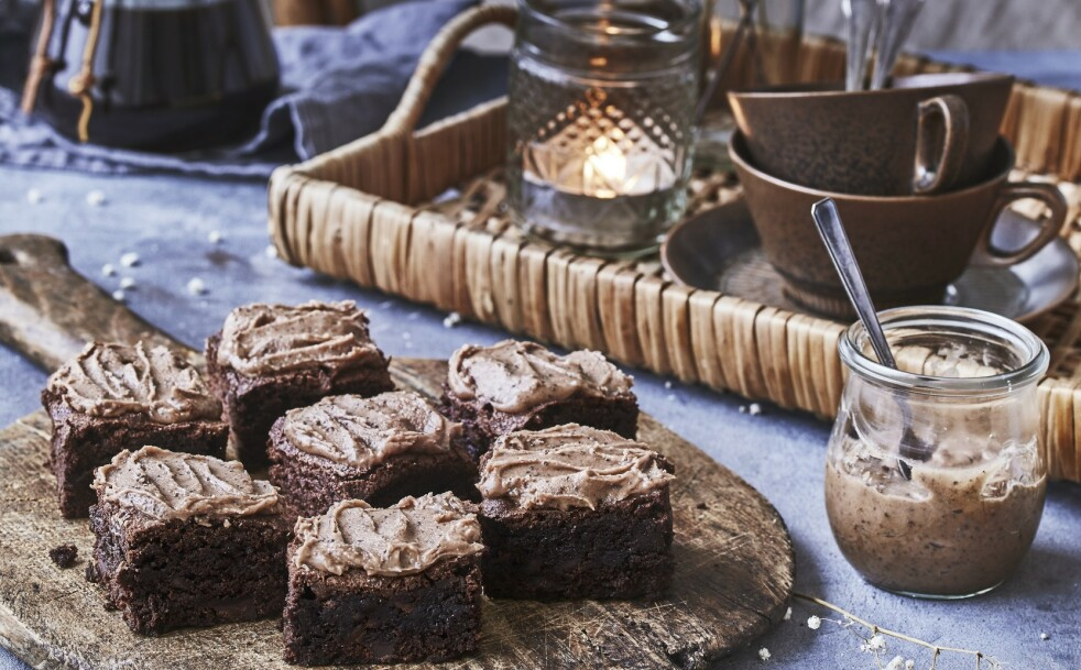 Brownie med kaffefrosting. FOTO: WInnie Methmann