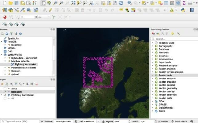 Bomstasjon-piktogram i QGIS. 📸: NRK