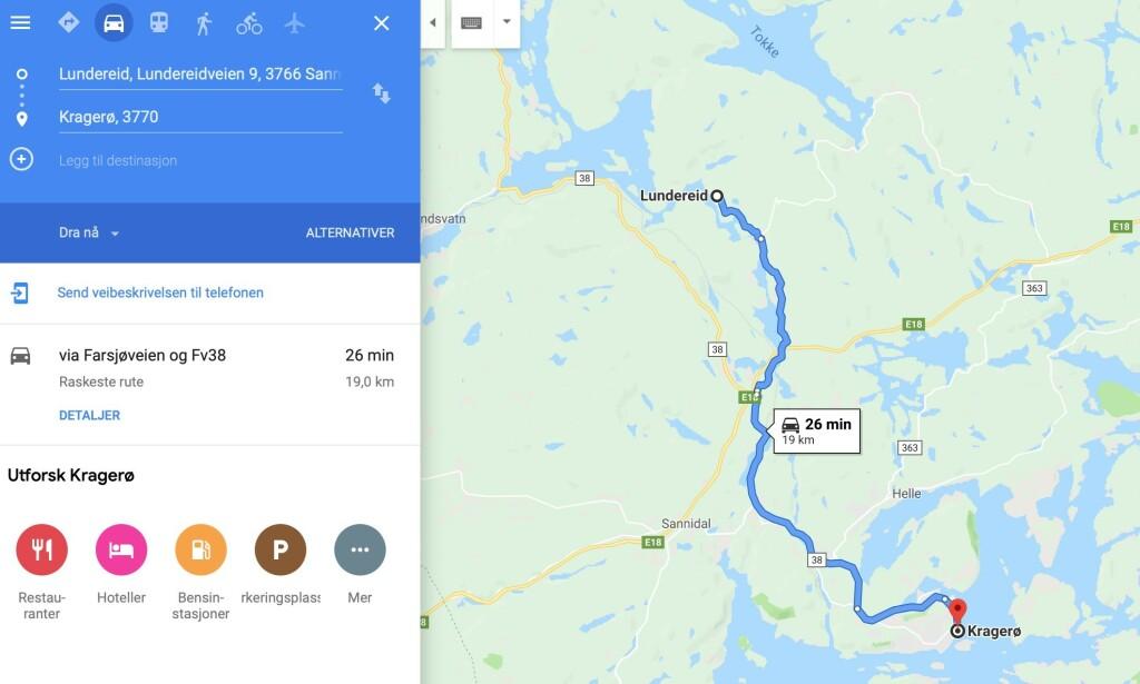 Noe må man jo bruke de atten innleide dronefotografene sine til. Skjermdump: Google Maps.