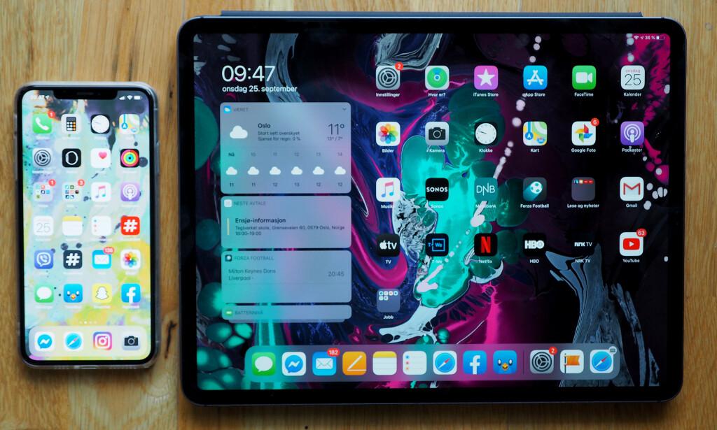 NY HJEMSKJERM: Widgeter på hjemskjermen er en av de store nyhetene i nettbrett-utgaven av iOS 13, også kjent som iPadOS. Foto: Kirsti Østvang