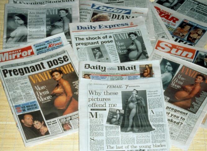 GIKK VERDEN RUNDT: Nakencoveret av Demi Moore skapte blest, og ble kommentert i aviser og magasiner verden over. FOTO: NTB Scanpix