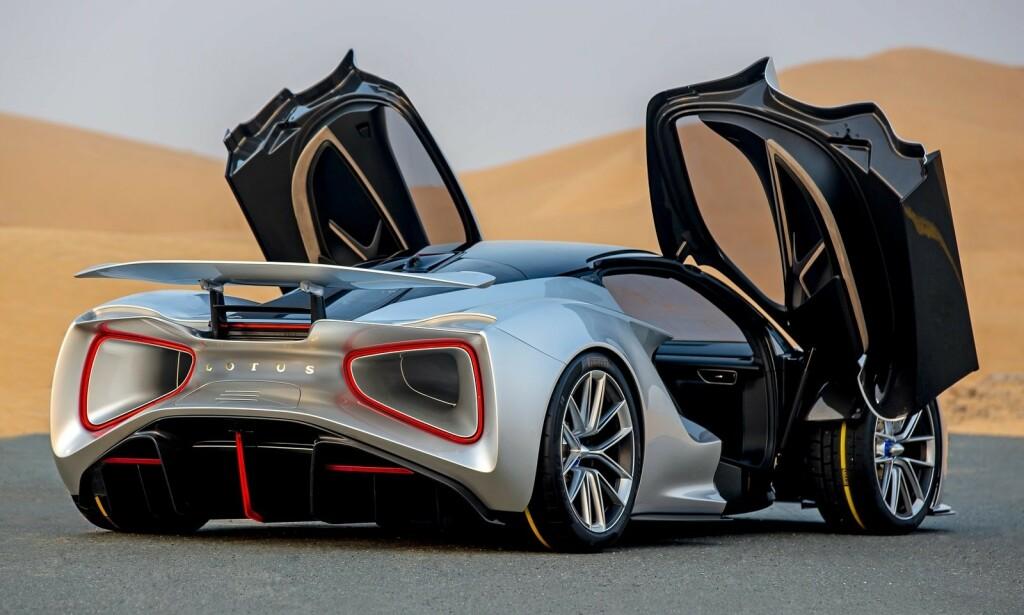 LYN-KJAPP: Det koster 2,7 millioner kroner bare for å kunne sette seg på reservasjonslista til den nye Lotus Evija. Foto: Lotus