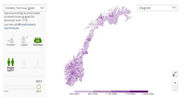 FORSKJELLER: Et interaktivt kart viser tydelig formuesforskjeller i landet. Foto: skjermdump.
