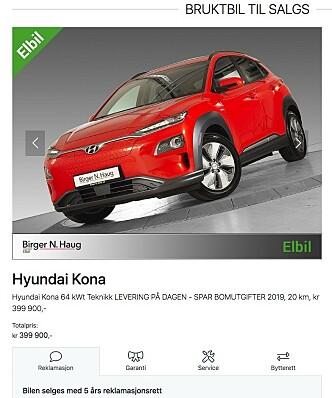 <strong>TJENER GODT:</strong> Denne bilen la Birger N. Haug ut for salg, med 65.000 kroner i fortjeneste. Ifølge forhandleren er den nå solgt. Faksimile: bnh.no