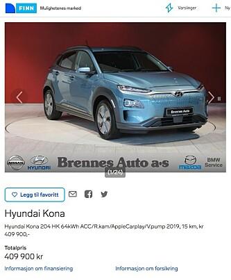 <strong>DYREST NÅ:</strong> Brennes Auto i Østfold har en Hyundai Kona Electric til salgs for hele 409.900 kroner - om lag 75.000 kroner i fortjeneste. Faksimile: finn.no