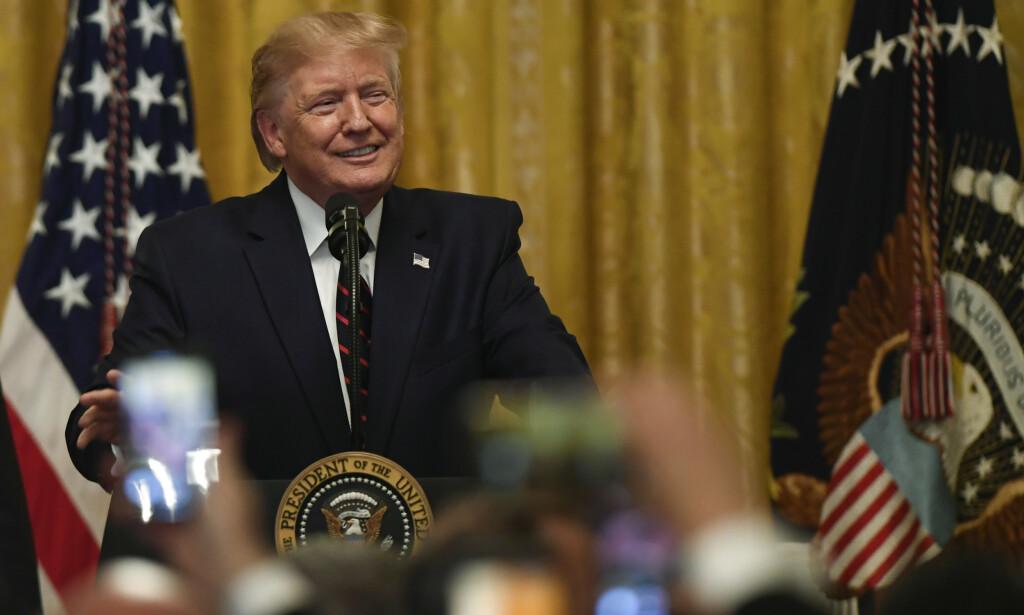 President Donald Trump holdt fredag en mottakelse i Det hvite hus. Foto: Susan Walsh / AP / NTB scanpix