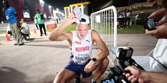 Haukenes washed himself after 40 kilometers
