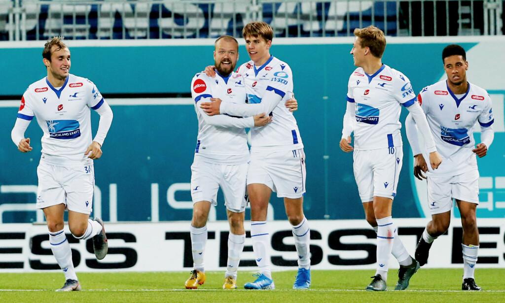 SCORET: Martin Samuelsens to mål sikret at det endte 2-2 mellom Haugesund og Kristiansund. Foto: Svein Ove Ekornesvåg / NTB scanpix