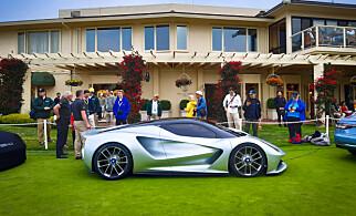 ET KONSEPT: Konseptbilen av Lotus Evija ble vist fram på Monterey Car Week på Pebble Beach tidligere i år. Foto: Lotus