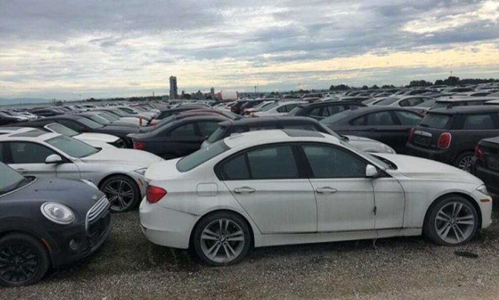 UBRUKTE: Nesten 3.000 biler av merkene Mini og BMW står og forfaller i Vancouver i British Columbia i Canada. Foto: Litte Rascall's Racing / Instagram