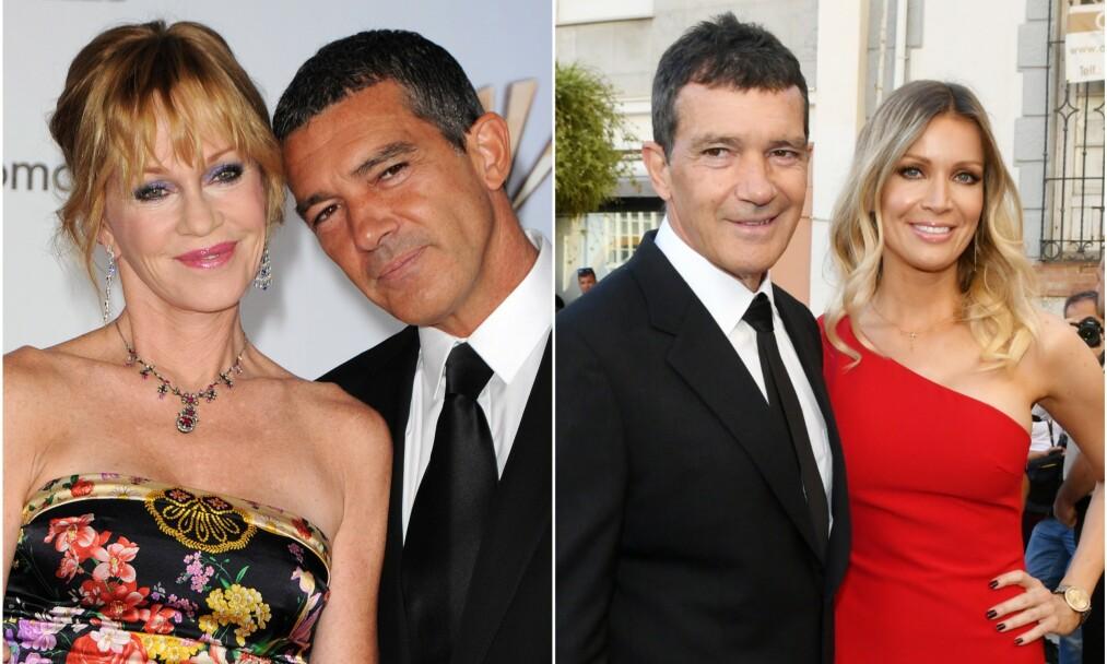 DA OG NÅ: Melanie Griffith (t.v) og Antonio Banderas var i mange år et av Hollywoods hotteste par. Etter skilsmissen fant han lykken med 20 år yngre Nicole Kimpel (t.h). Foto: NTB Scanpix