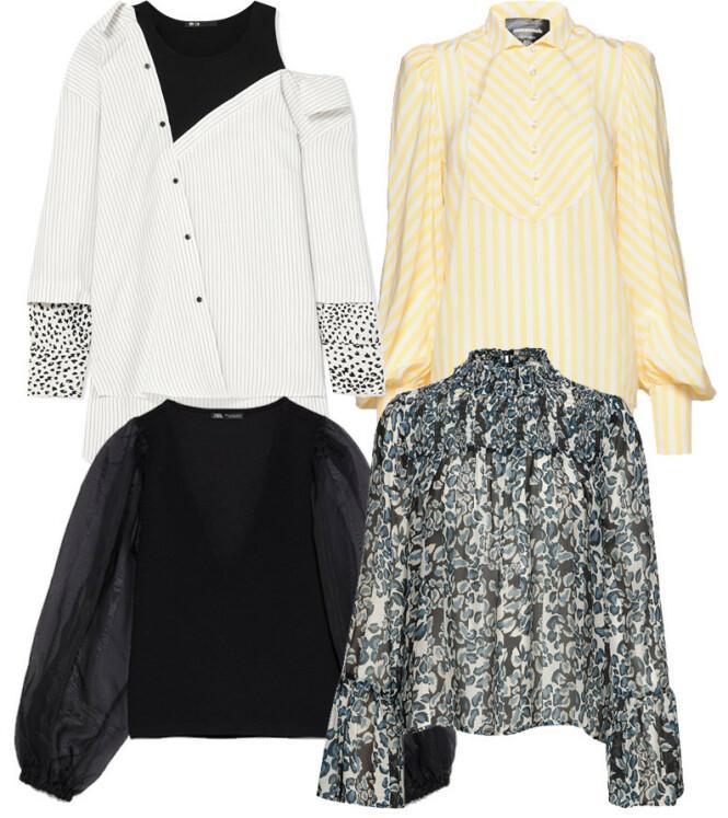 Skjorte i svart og hvitt fra Maje via Net-a-porter,com, kr 2227. Gul skjorte fra Custommade, kr 3300. Svart bluse fra Zara, kr 259. Bluse fra By Malina via Boozt.com, kr 1599.