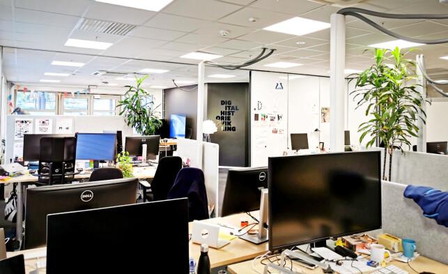 Kontorene i NRKs avdeling Visuelle Historier, hvor Helge Silset sitter. 📸: Privat