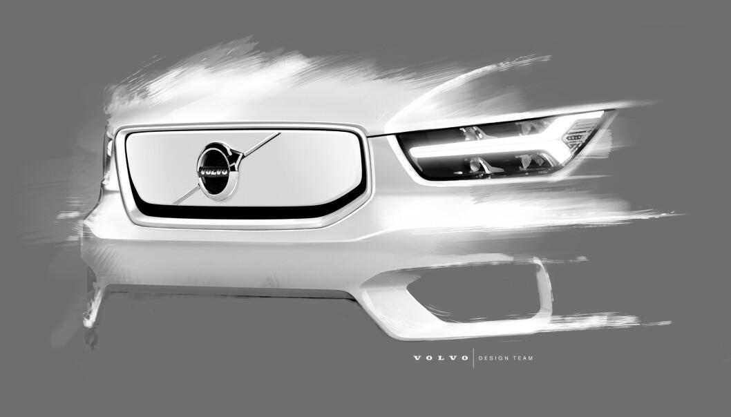 HEMMELIG: Denne skissen er den eneste avsløringen av hvordan XC40 vil se ut i front. Bilen skal vises for første gang 16.oktober 2019. Foto: Volvo