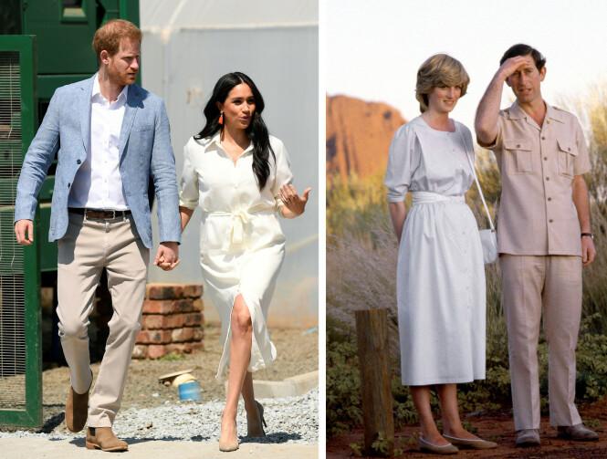 MATCHET: Nylig var prins Harry og hertuginne Meghan på offisielt besøk i Sør-Afrika, og antrekket hertuginnen bar i Johannesburg i oktober 2019, minnet svært mye om antrekket Diana bar under Australia-besøket 36 år tidligere. FOTO: NTB Scanpix