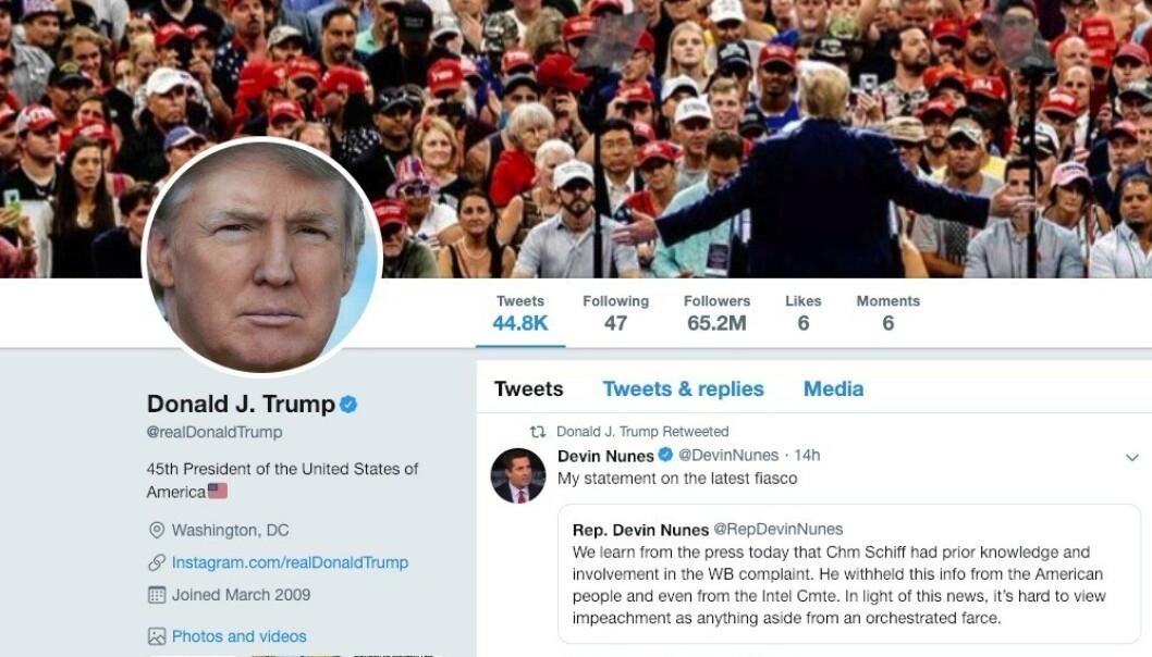 Donald Trump er kanskje verdens mest kjente tvitrer. Ivrig er han i hvert fall, bildet over viser at han har sendt nærmere 45 000 meldinger på minibloggtjenesten.